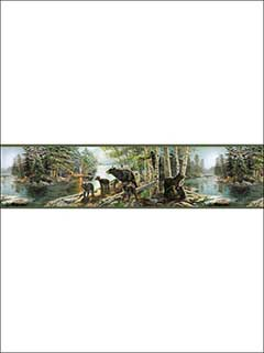 Bear Necessities Multicolor Mountain Lake Border 311801531B by Chesapeake Wallpaper for sale at Wallpapers To Go