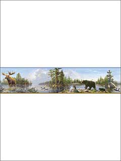 Moose Lake Multicolor Forest Border 311848541B by Chesapeake Wallpaper for sale at Wallpapers To Go