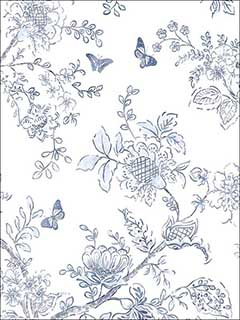 Butterfly Toile Light Blue Blue Navy Wallpaper FH37539 by Patton Norwall Wallpaper for sale at Wallpapers To Go