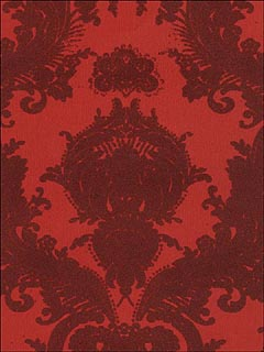 Burgandy Velvet Small Damask On Lipstick Wallpaper VC0805 by Astek Wallpaper for sale at Wallpapers To Go