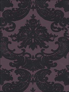 astek vc0819 black velvet damask on purple wallpaper