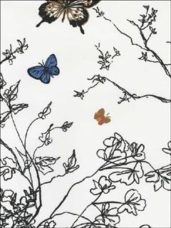 Schumacher 2704420 Birds And Butterflies Multi On White Wallpaper