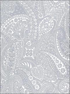 Paisley Print Grey Wallpaper 5003190 by Schumacher Wallpaper for sale at Wallpapers To Go